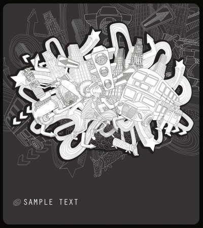 Illustration for Line drawing chaotic city - Royalty Free Image