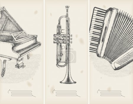 Illustration for Music theme drawings -retro banners - Royalty Free Image