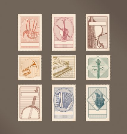 Illustration for Music instruments stamps - Royalty Free Image