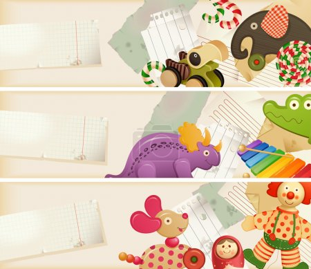 Illustration for Toys, candy & childhood memories - horizontal banners - Royalty Free Image