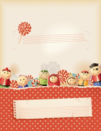 Illustration for Sweet red childhood memories- background with space for text - Royalty Free Image