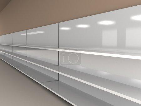 Photo pour Rendu 3D d'étagères vides sur le mur marron - image libre de droit