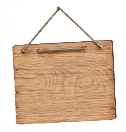 Photo pour Panneau en bois blanc - isolé sur fond blanc - image libre de droit