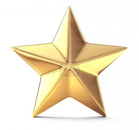 Foto de Estrella dorada aislada en blanco - Imagen libre de derechos