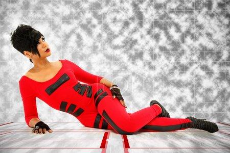 Beautiful Sexy Black Woman in Futuristic Body Suit...