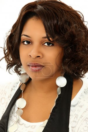 Beautiful Serious Black Woman Over White Background
