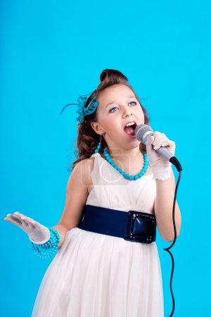 Beatifull girl with microphone