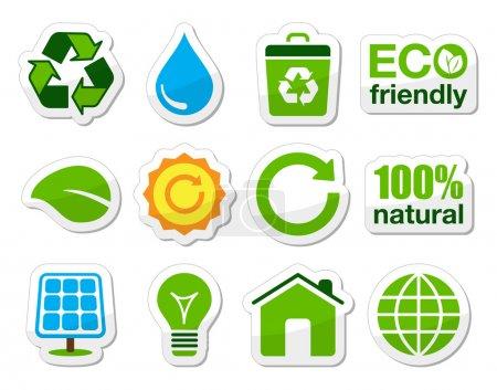 Illustration pour Étiquettes écologiques isolées sur fond blanc . - image libre de droit