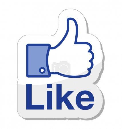 Foto de Facebook como botón aislado sobre fondo blanco - Imagen libre de derechos