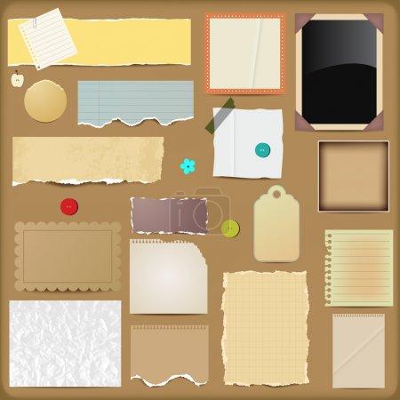 Illustration pour Éléments de scrapbooking vectoriels - papiers - image libre de droit