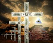 Illuminati pyramid and money religion