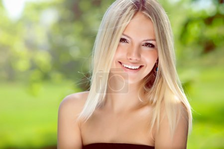 Photo for Portrait of happy blond woman - Royalty Free Image