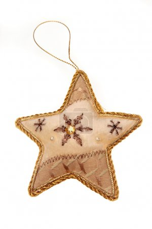 Photo pour Élément de Noël - artisanat étoile sur fond blanc - image libre de droit