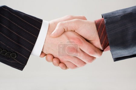 Photo for Image of shaking hands making an agreement on the white background - Royalty Free Image