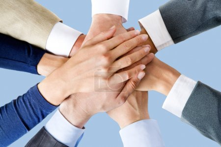Photo for Photo of business 's hands on top of each other - Royalty Free Image
