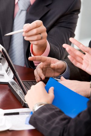 Photo for Image of human hands at business meeting - Royalty Free Image