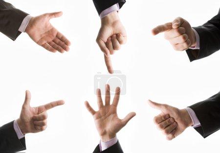 Photo pour Collection de six mains masculines montrant signe - image libre de droit