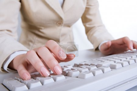 Photo for Photo of secretary hands typing a document on the keyboard - Royalty Free Image
