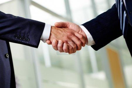 Photo pour Homme d'affaires senior, serrant la main en signe d'un accord conclu avec succès - image libre de droit