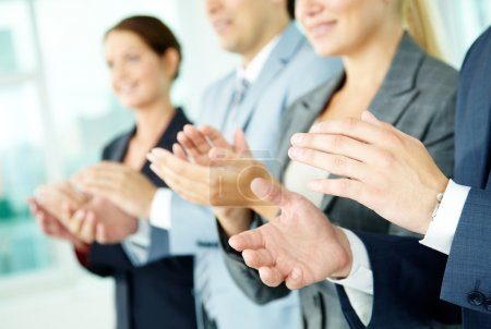 Photo for Photo of business partners hands applauding at meeting - Royalty Free Image