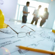Image of engineering objects on workplace with thr...