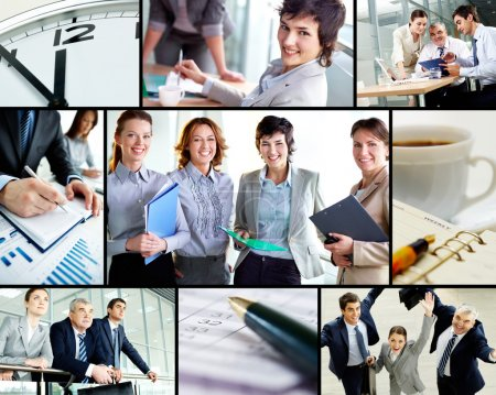 Photo for Collage of successful business partners at work - Royalty Free Image