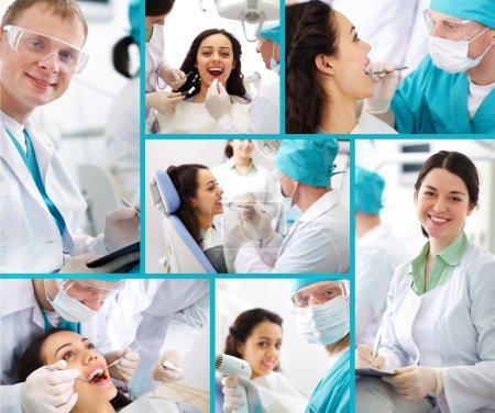 Photo pour Collage médical composé de photos sur un thème de l'art dentaire - image libre de droit