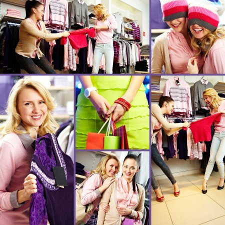 Collage of pretty friends during shopping in department store