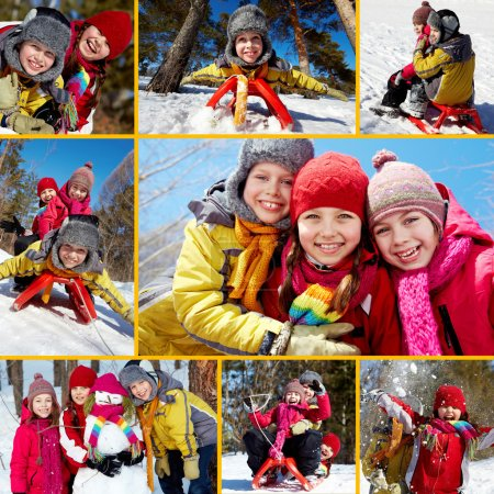Photo for Collage of happy friends on winter vacations - Royalty Free Image