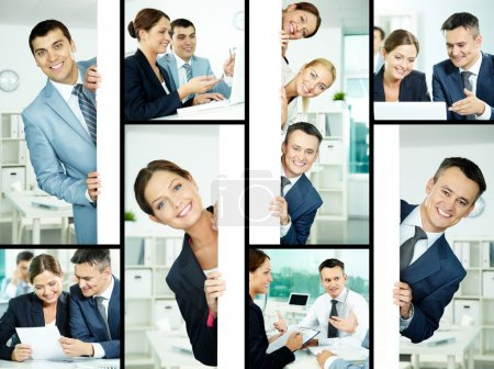 Photo for Collage of friendly professionals planning work and peeking out of poster - Royalty Free Image