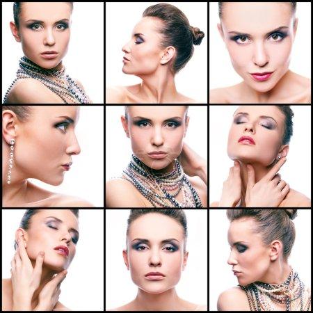 Foto de Collage de mujer hermosa con perlas y maquillaje glamoroso mirando a la cámara - Imagen libre de derechos