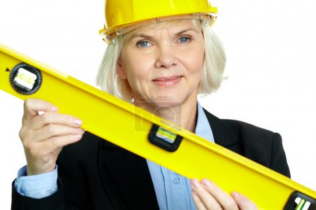 Woman with measuring tool