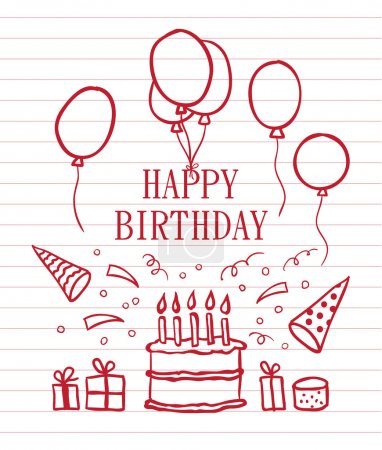 Illustration for Doodle Happy Birthday card. Vector illustration - Royalty Free Image