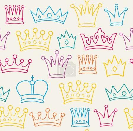 Illustration pour Modèle de couronne de couleur sans couture. Illustration vectorielle - image libre de droit