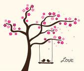 Flower love tree Vector illustration