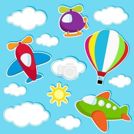 Illustration pour Stickers ciel avec transport aérien - image libre de droit